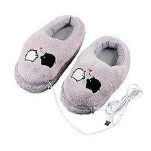 Практичная безопасная и надежная плюшевая USB теплая обувь для ног мягкие тапочки с электрическим подогревом милый кролик Рождественский подарок для девочек