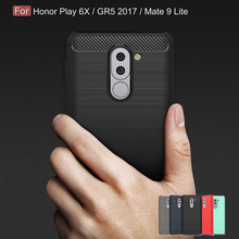 купить Shockproof Phone Case For Huawei Ascend Mate 9 Lite Carbon Fiber TPU Cover For Honor Play 6X GR5 2017 Version дешево