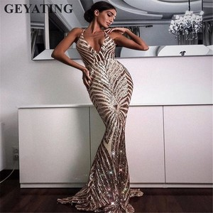 Image 4 - Sexy Rose Gold Sequin Backless Prom Dresses Mermaid 2020 Long Spaghetti Straps Black Maxi Women Formal Evening Party Dress Cheap