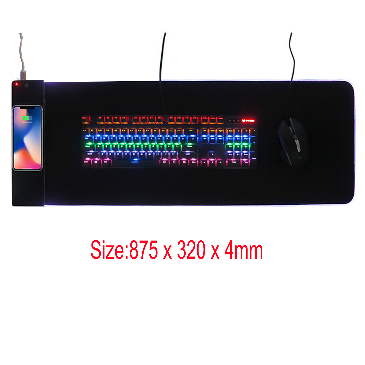 Vococal 875 x 320 x 4mm Large USB Wired LED RGB Colorful Lighting Gaming Mousepad Mouse