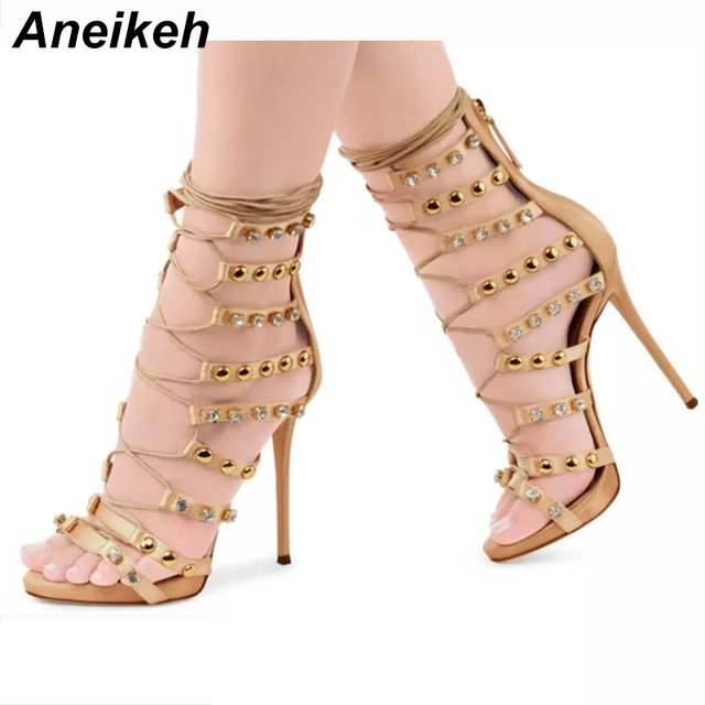 Aneikeh Sexy Rivet High Heels Crystal Women Sandals Thin High Heels  Gladiator Hollow out Lace-Up Fashion Summer Party Shoes 03c864294aa7
