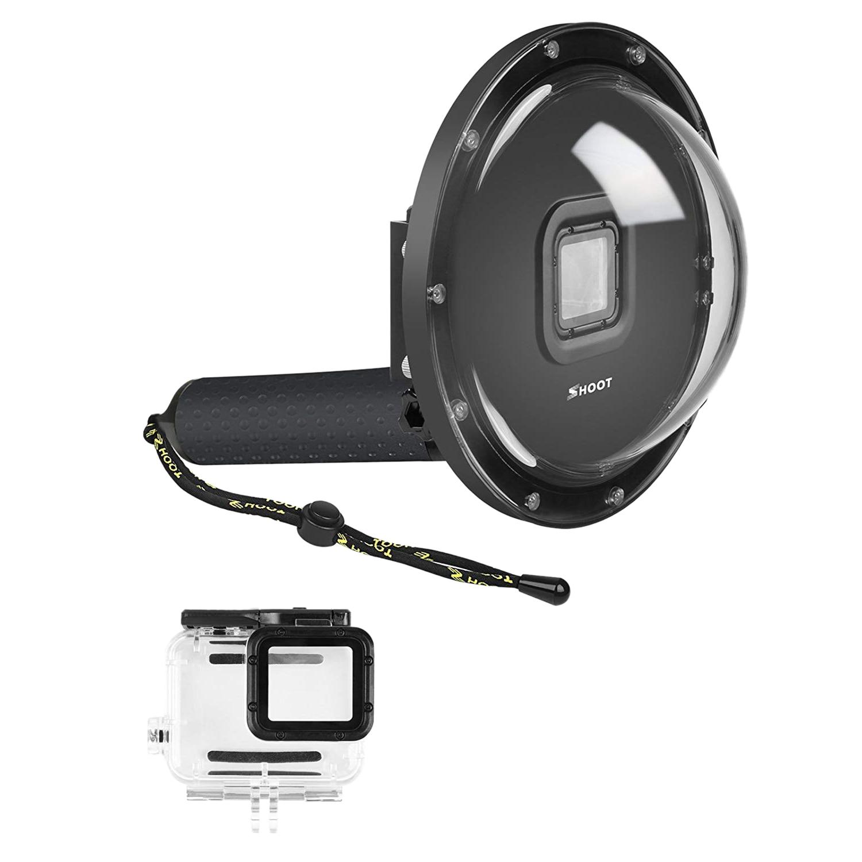 Port de dôme de tir pour GoPro Hero 6/Hero 5/Hero (2018) caméra noire plongée sous-marine boîtier Transparent de lentille boîtier étanche dôme