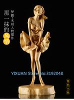 TNUKK Buxus wood carving art decoration craft gift Home Furnishing European beauty figure Monroe ornaments.
