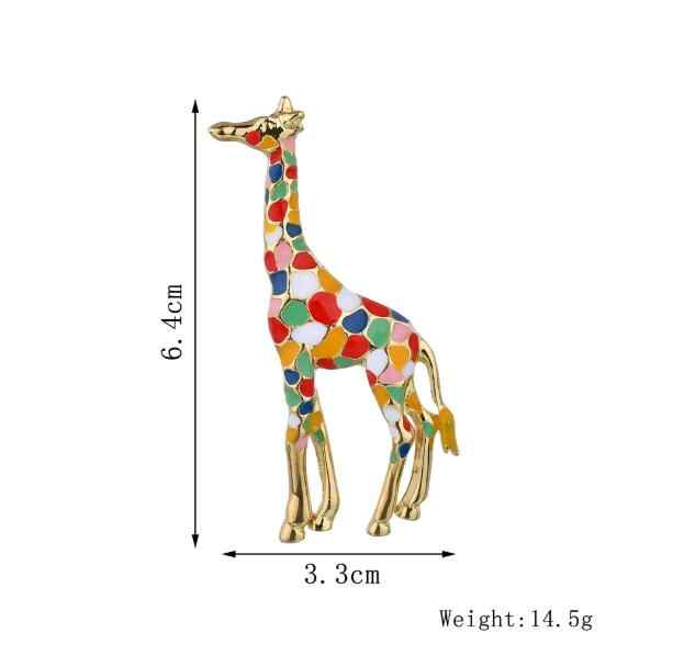 Personalidade Multicor Broche Girafa Brincos Pin Camisola Crachá Memorial Para Animais de Estimação Jóias Cachecol fivela presente de Natal Bijoux X1087