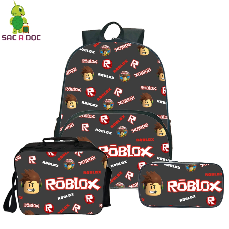 3Pcs Sets Roblox Collage Backpack School Shoulder Bags for Teenage Girls Boys Daily Backpack with Cooler