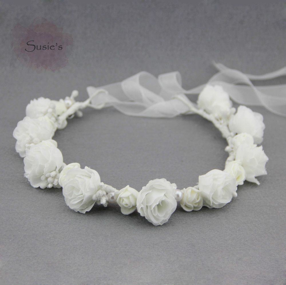 Susies Flower Crown White Headband White Flower Crown Headband