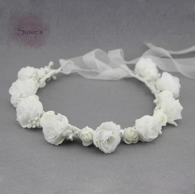 a0c7eea62bbfa Susie s Flower Crown White Headband White Flower Crown Headband White Flower  Girl Headband Spring headband Wedding Accessories