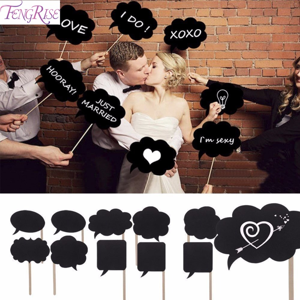 FENGRISE 10pcs Photo Booth Props Wedding Decoration Mini Chalkboard Wedding Signs Sweet Valentines Gift Birthday Party Supplies