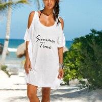 2017 Hot Women Summer Beach Blouse Dresses Casual Women Beach Dress Tunic Off Shoulder Cotton Letter