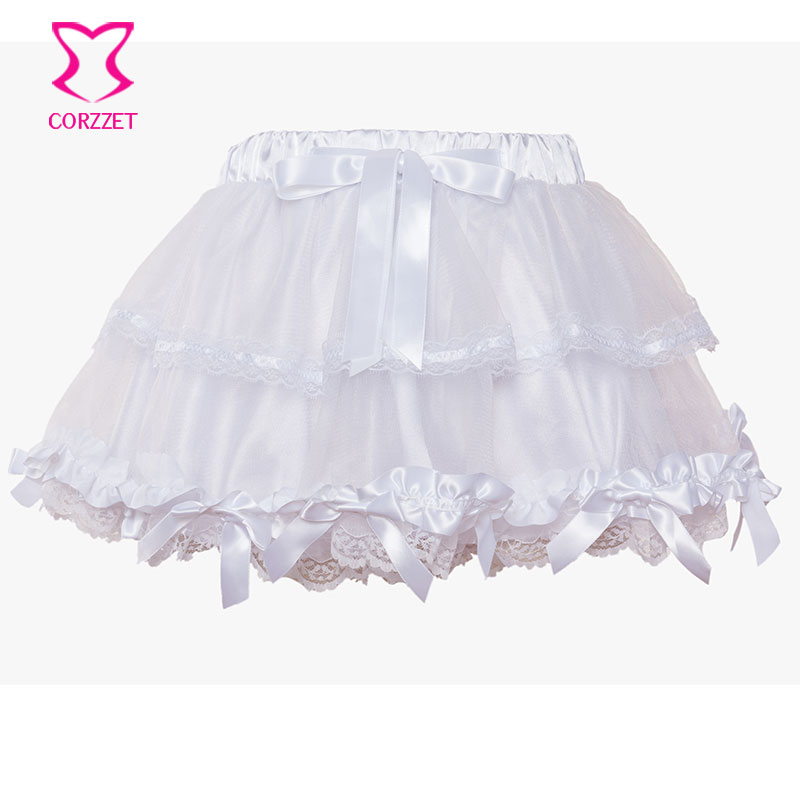 Corzzet White Lace Wedding Tu Tu Falda Burlesque Mujeres Lolita Tutu Party Dance Adult Skirt Performance Cloth