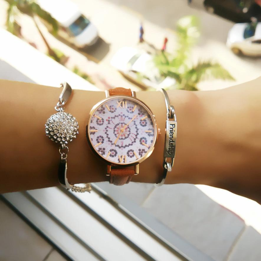 Relogio Feminino Dropshipping Gift Women Watches Women Floral Pattern Leather Band Analog Quartz Wrist Watch  july28 creative new coin pattern design women watch leather band analog quartz vogue wrist watches relogio feminino female clock time