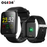OGEDA Smart Men Watch Fitness Track Blood Pressure Smartwatch Message Display Heart Rate 30M Waterproof Smart Clock Q9S Rubber