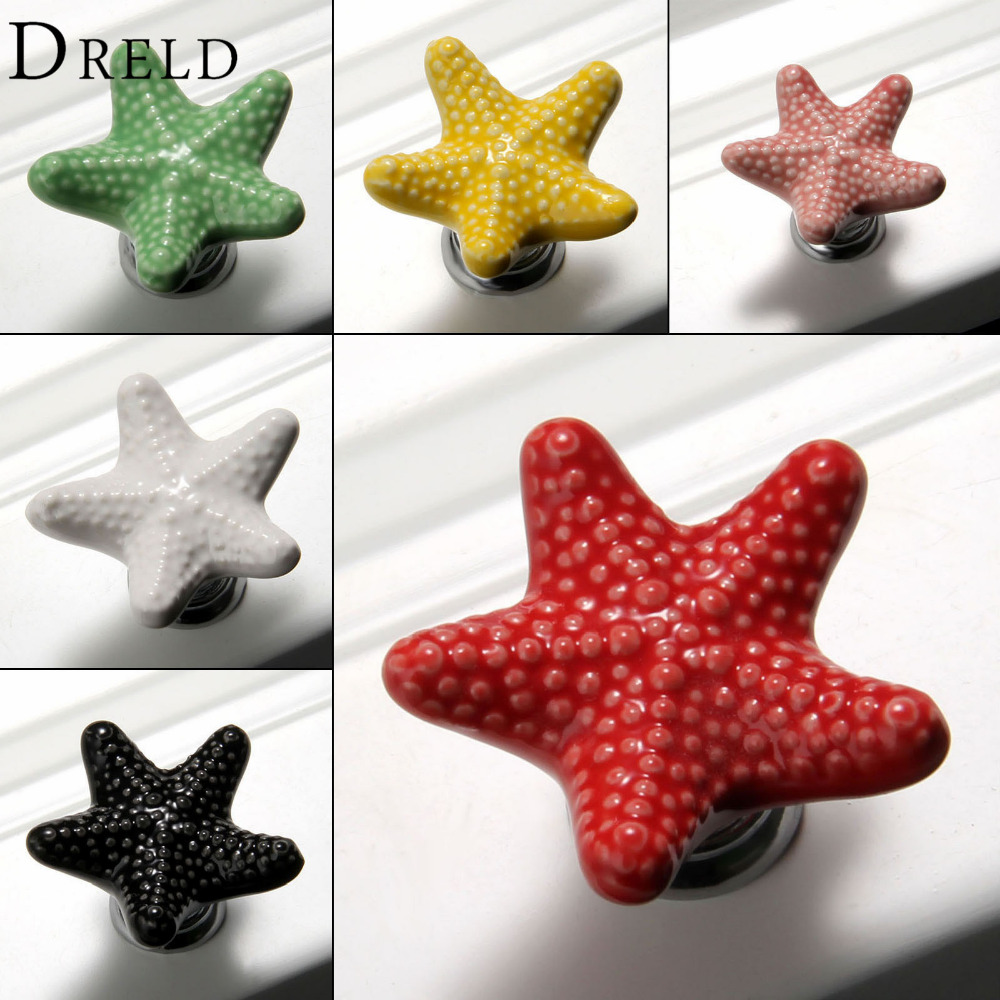 Furniture Handles Starfish Cabinet Knobs and Handles Ceramic Door Knob Cupboard Drawer Kitchen Pull Handle Home Decoration+Screw 1pc furniture handles wardrobe door pull drawer handle kitchen cupboard handle cabinet knobs and handles decorative dolphin knob