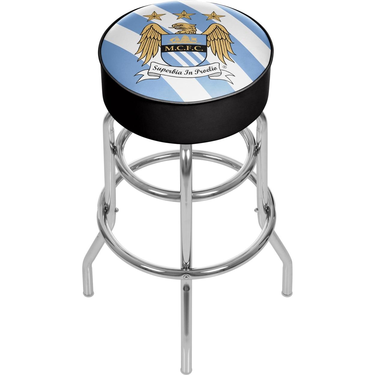 Premier League Manchester City Padded Swivel Bar Stool 30 Inches High premier league liverpool football club chrome 42 inch pub table