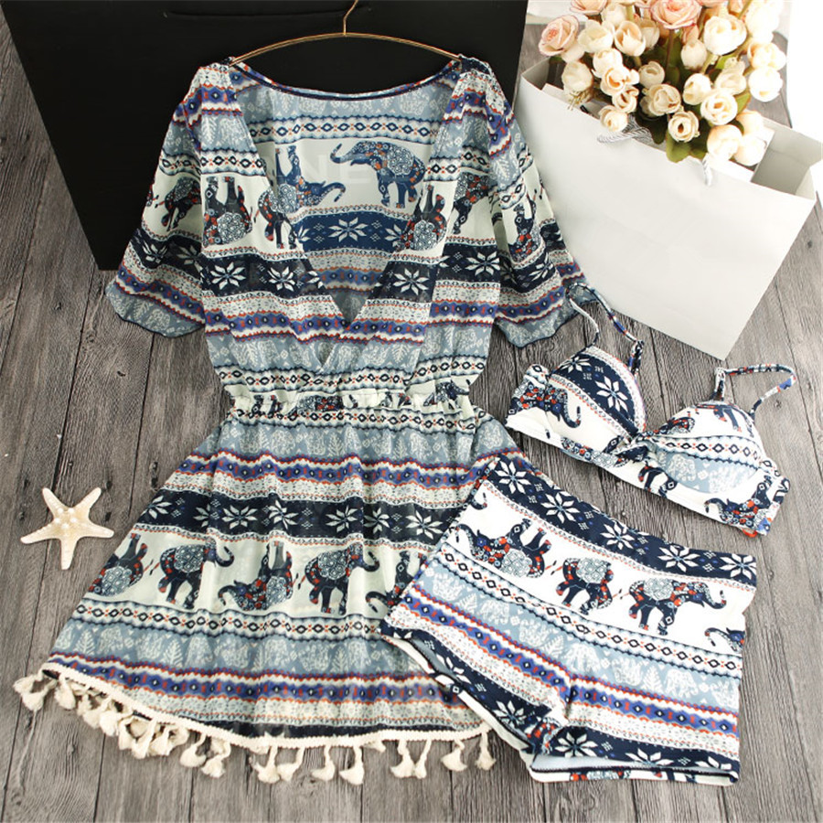 ФОТО STAR MENG Folk style elephant sexy female swimsuit small chest gather steel support three sets of hot spring bathing in bikinis