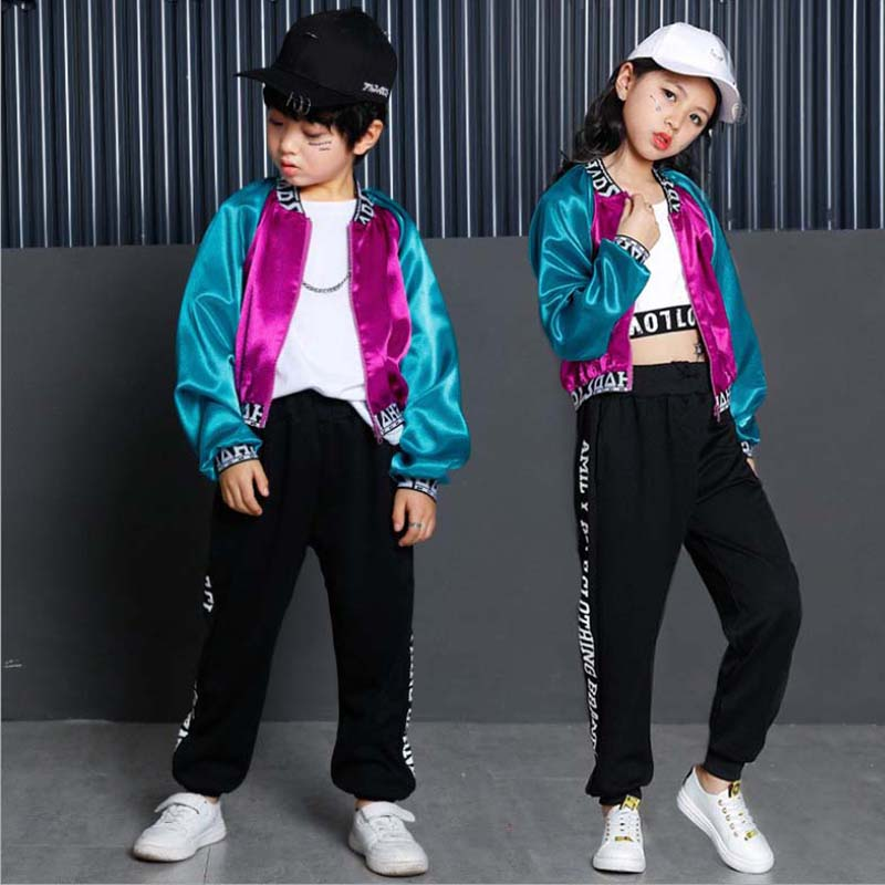 KTLPARTY children boy Hip Hop Costume  jazz street dance Costume baseball clothes purple blue coat pants white T-shirt kid