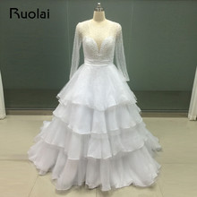 Real Image Gorgeous Ball Gown Dubai Wedding Dresses Long Sleeves Scoop Sheer Top Beaded Pearls Bridal Gown Robe de Mariage FW62