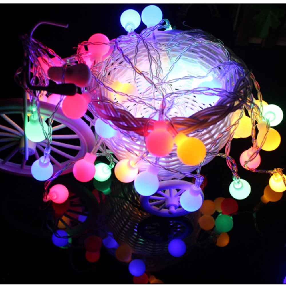 2 Meters 10led Color Lights Outside Garden Lights String Frosted Ball Fairy Tale LED Battery Power Supply String Chandelier #30