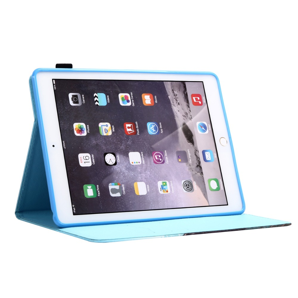 Cute Printing Cover for iPad Air 2 Flip Magnetic Wallet Case Tablet Smart Cover for iPad Air 2 iPad 6 with Card Slots Pen Holder
