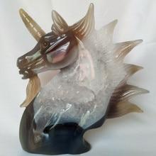 UNA pietra Naturale agata intaglio unicorno teschio di cristallo cristalli geode cluster creativo scultura decorazione della casa nobile e puro