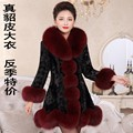 winter women's real genuine natural mink fur coat fox fur collar long style warm outerwear plus size black coat