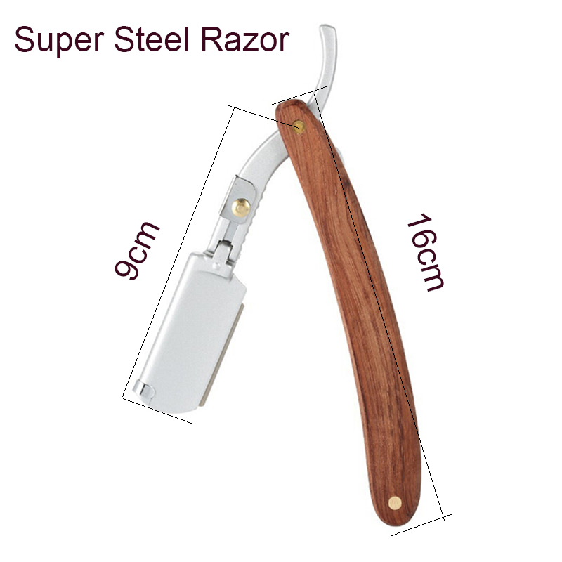 New Model Men Wooden Handle Razor Portable Beard Shaving Knife Body Hair Cutting Replace Blade Barber Home Salon
