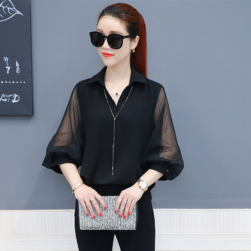 See Through Women Spring Summer Style Chiffon Mesh Patchwork   Blouses     Shirts   Lady Casul Long Lantern Sleeve Blusas Tops DD1561