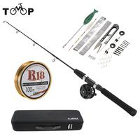 Portable Fishing Reel Rod Combo Set Ice Fishing Rod Kit with 100m Fishing Line Fishing Accessories Tackle Kit