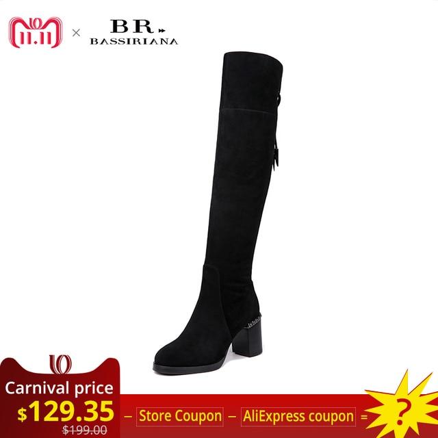 BASSIRIANA/новые женские сапоги выше колена из натуральной кожи кожаные ботинки женские зимние женская обувь черные серые замшевые На молнии; размеры 35-40 высокое качество