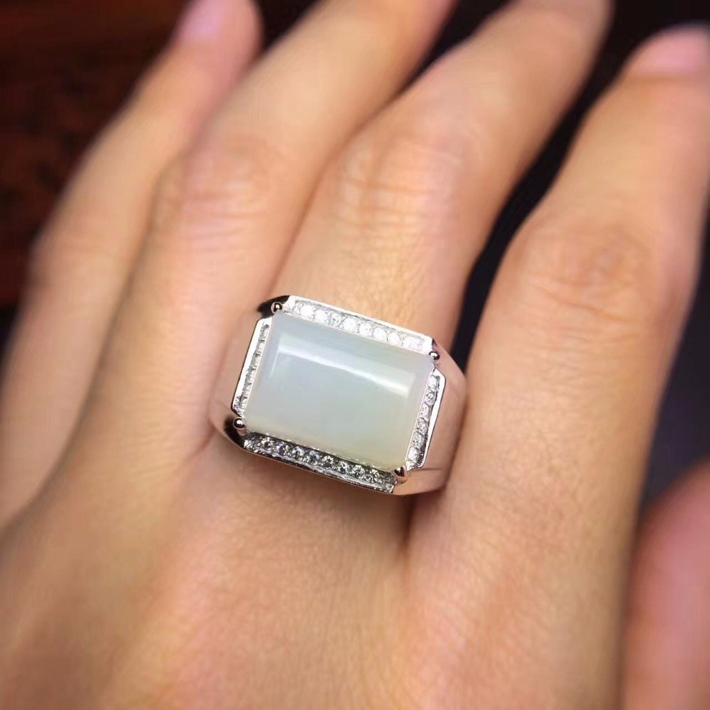 Natural Hetian jade mens ring, white stone, beautiful color, 925 silverNatural Hetian jade mens ring, white stone, beautiful color, 925 silver