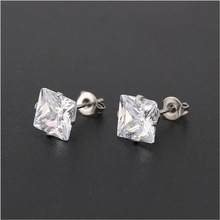 Stud-Earrings Zircons Square Stainless-Steel Women with Clean for And Size-From-3mm 8mm