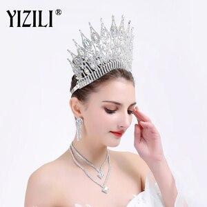 Image 3 - YIZILI grande couronne de mariage de luxe, grande couronne de mariée européenne, grande couronne ronde en cristal, accessoires de cheveux de mariage, C021
