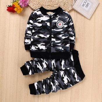 DIIMUU 2Pcs Fashion Toddler Baby Boys Girls Clothing Camouflage Outfits Zipper Velvet Long Sleeve Casual Outerwear Sports Sets