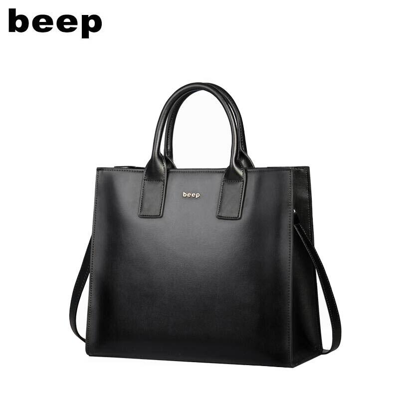 Beep 2019 nouveau supérieur peau de vache de luxe mode femmes en cuir véritable sac Simple femmes en cuir fourre-tout sac à bandoulière grand sac pour femmes