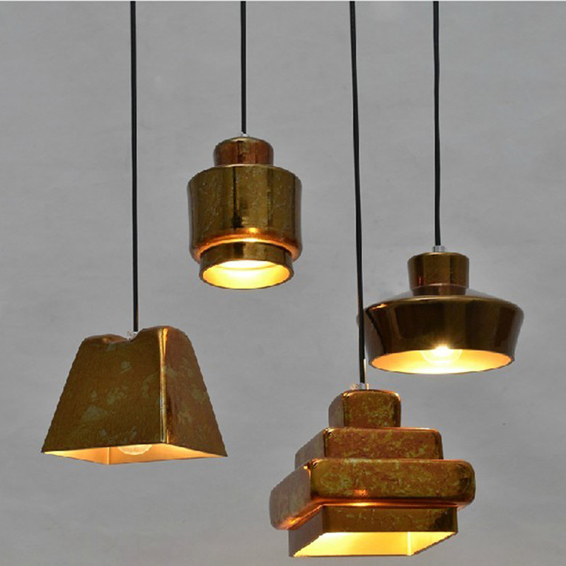 Nordic Glass Dining Room Pendant Lights Scrap Metal Glass Lamp Bar Decoration Living Room Light Free Shipping