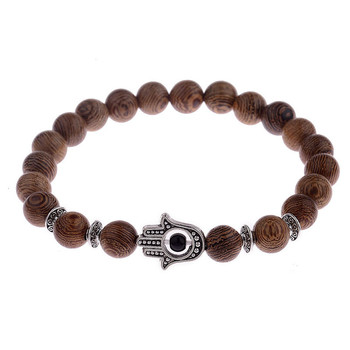 Elastic Natural Wood Beads Bracelet Bracelets Jewelry New Arrivals Women Jewelry Metal Color: 001-3