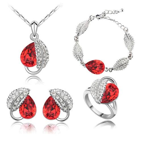 Летняя жизнь лист красивая капля воды для женщин океанический синий кристалл кулон Ювелирные наборы ожерелье серьги 2 в наборе 84172 - Окраска металла: red 4