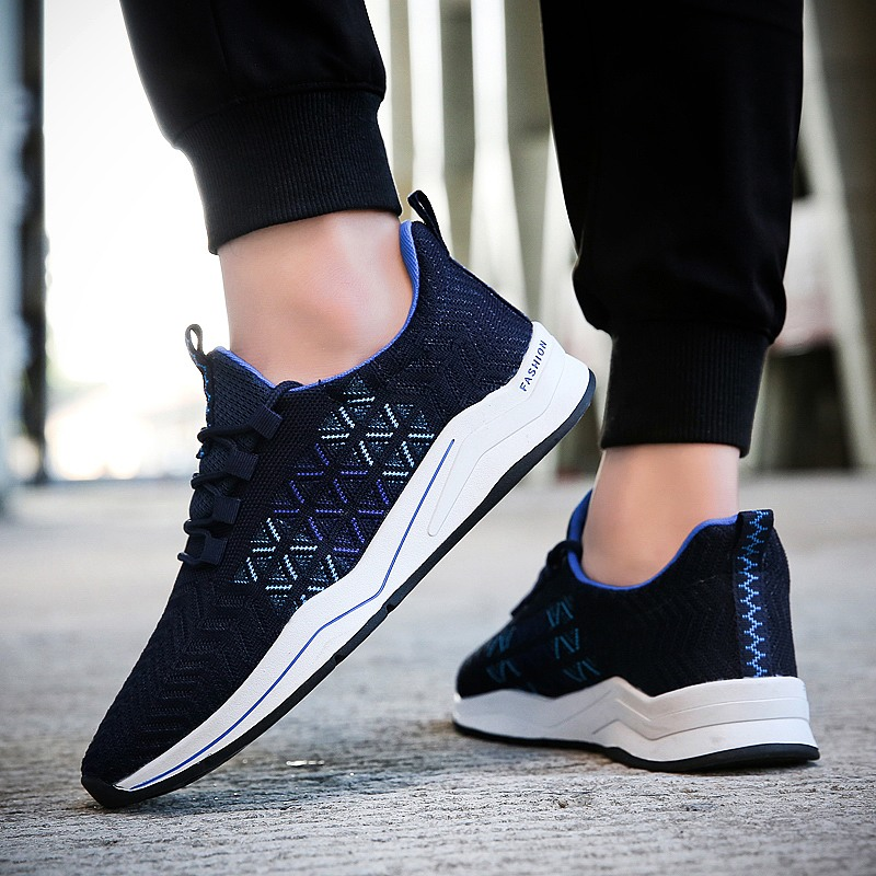 MIVNSKVE Fly Knitted Men Running Shoes Mesh sports Sneakers Jogging lace up Shoe Breathable outdoor Shoes High Quality flats