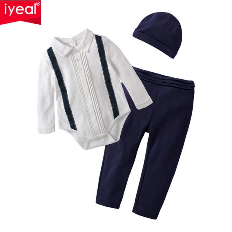 IYEAL Newborn Baby Clothing Sets 2018 Autumn Baby Boys Clothes Toddler Infant Rompers + Trousers +Hat 3Pcs/Set Kids Outfits
