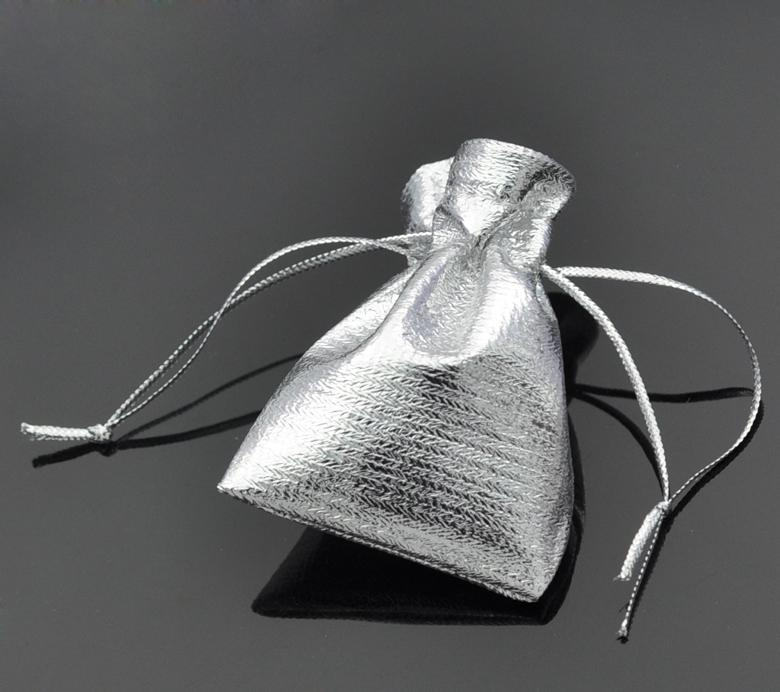 Terylene Cloth Bags Drawable Rectangle Silver Color 7cm X5cm(2 6/8