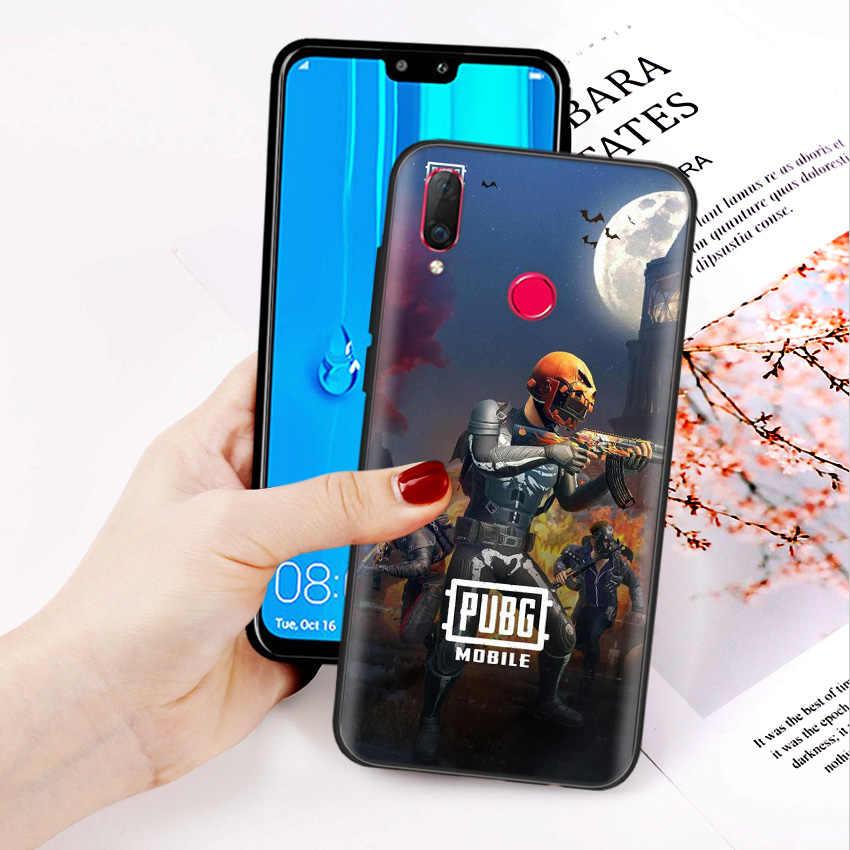Siyah silikon kılıf çanta kılıfı için Huawei onur 10i Y7 Y6 Y5 Y9 8X 8C 8S 9 10 Lite Pro 2018 2019 Y9S Y7P kabuk PUBG oyun sanat