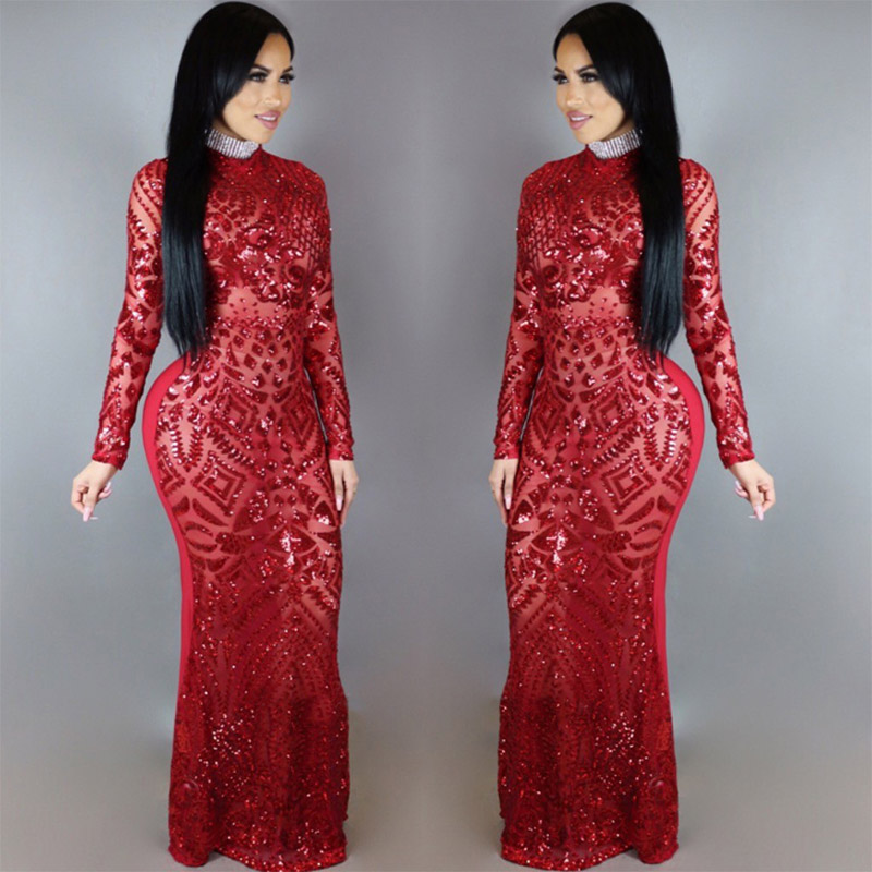 Euramerican Style Sequin Maxi Dress Sexy women Vintage Round Neck Long Sleeve Sheath Floor Length Bodycon Club Dress 2017