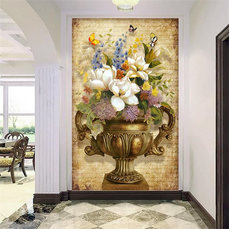 Beibehang Custom Wallpaper 3d Photo Mural European Retro Painting Vase Floral Entrance Hallway Aisle Wall Paper Papel De Parede