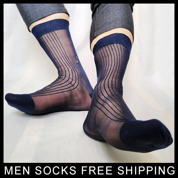 Ultra Thin sheer Socks for Men Nylon silk Transparents Sexy Gay formal dress suit Male socks Business Striped Man Hose Stocking ...