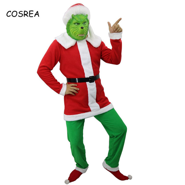 cd7038393 The Grinch Christmas Clothes Cosplay Hat Top Pants How The Grinch Stole  Christmas Costumes Hair Latex Full Face Women Adult
