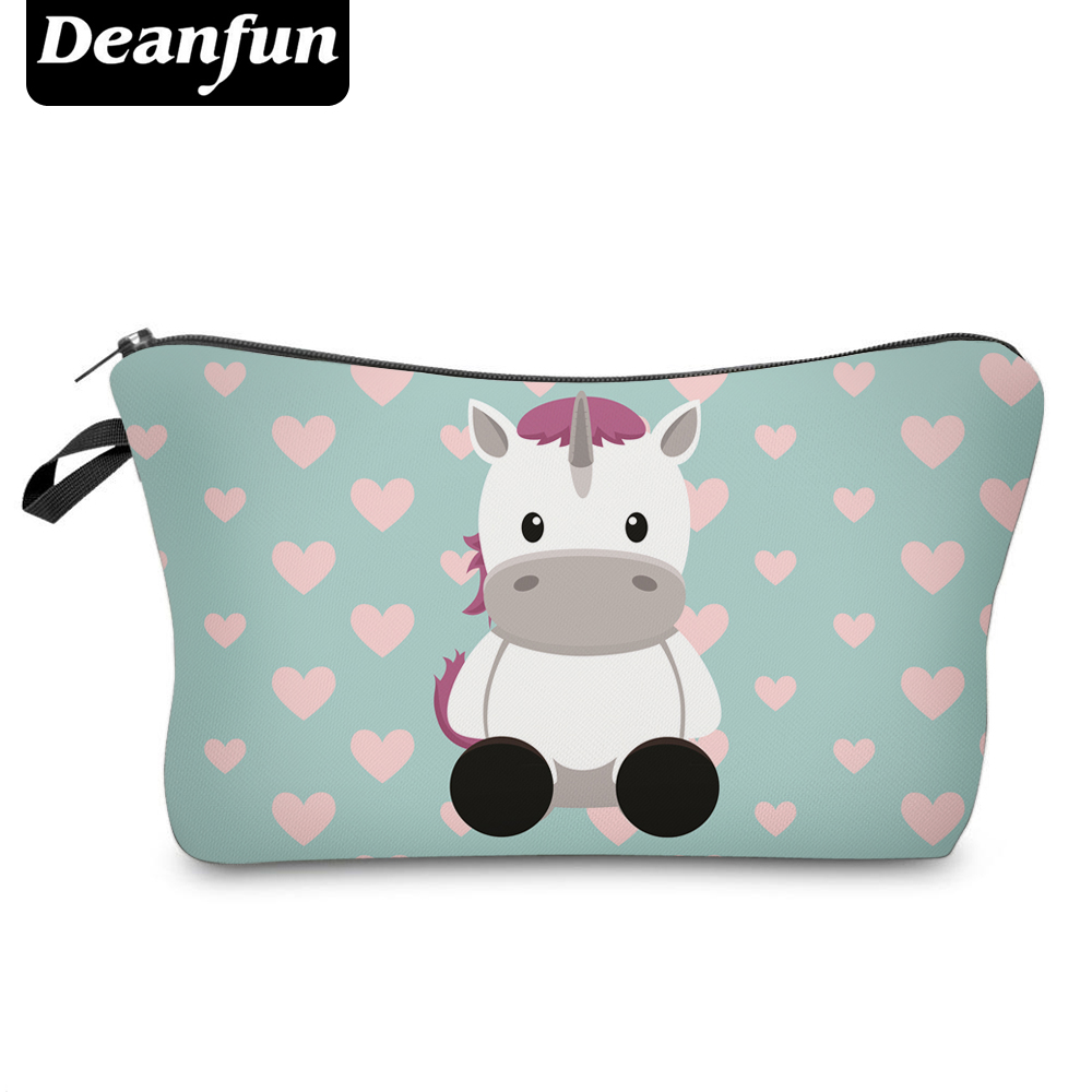Deanfun Cosmetic Bags 3D Unicorn Printed Necessaries For Women Makeup Heart Polyester Travelling Organizer 50952