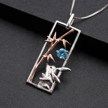 Natural Swiss Blue Topaz Sterling Silver S925 Rose Gold Plated Rabit Elgant Pendant3
