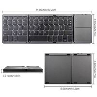Foldable Bluetooth Keyboard Pocket Size Portable Mini BT Wireless Touchpad Rechargeable Li ion Battery