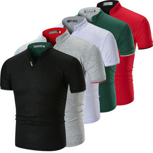 Hot Mens Shirt Solid Cotton Slim Fit Short Sleeve V-Neck Casual Summer Top Muscle Casual Male Summer Fashion Shirt Basic Tee