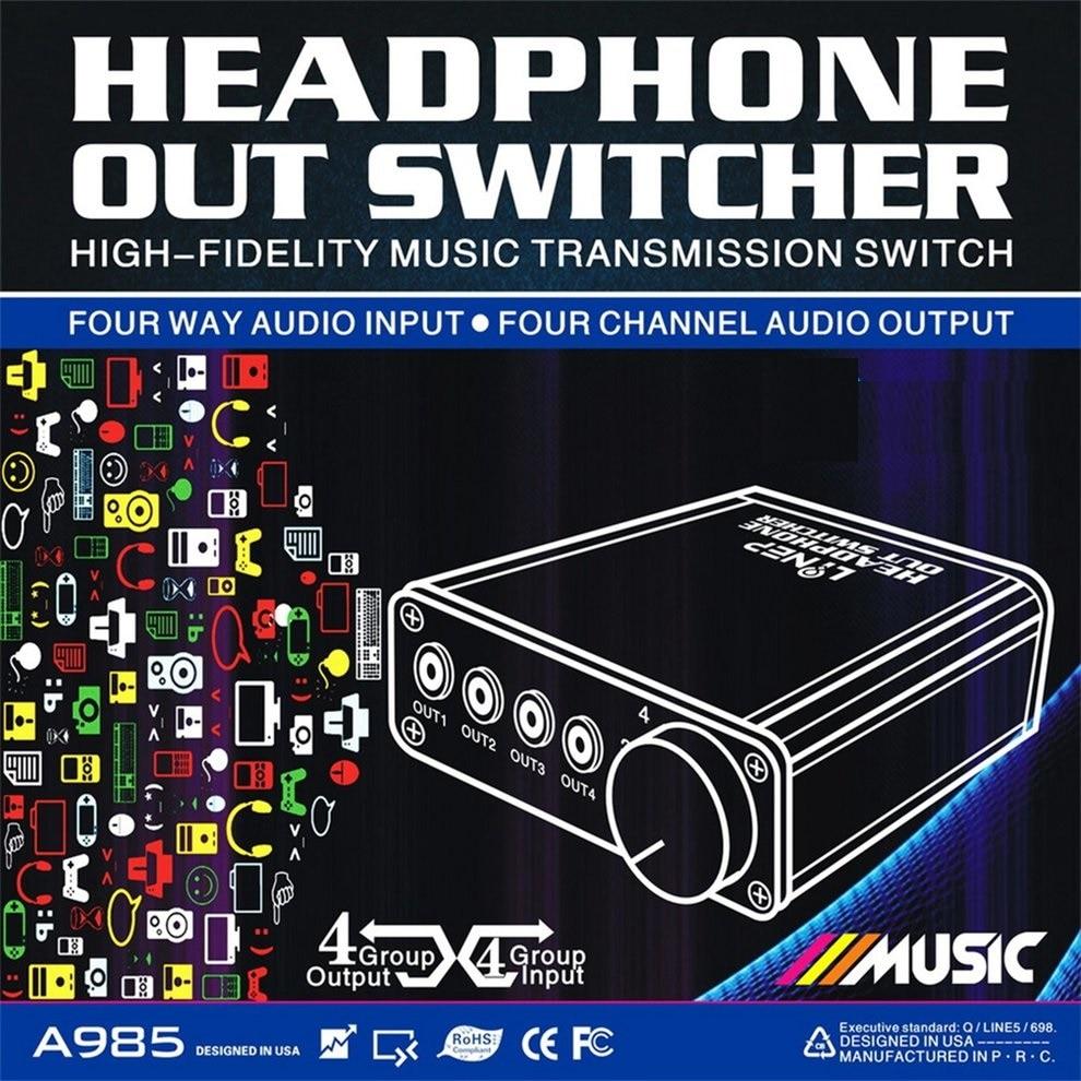 2pcs 4 Input 4 Output Headphone 3.5mm Mp3 Audio Signal Switcher Digital Multi-ch